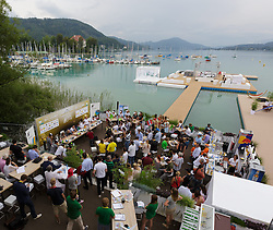29.07.2014, Klagenfurt, Strandbad, AUT, A1 Beachvolleyball Grand Slam 2014, im Bild der Bereich der Presskonfernz am Ufer des Wörthersees // during the A1 Beachvolleyball Grand Slam at the Strandbad Klagenfurt, Austria on 2014/07/29. EXPA Pictures © 2014, EXPA Pictures © 2014, PhotoCredit: EXPA/ Mag. Gert Steinthaler
