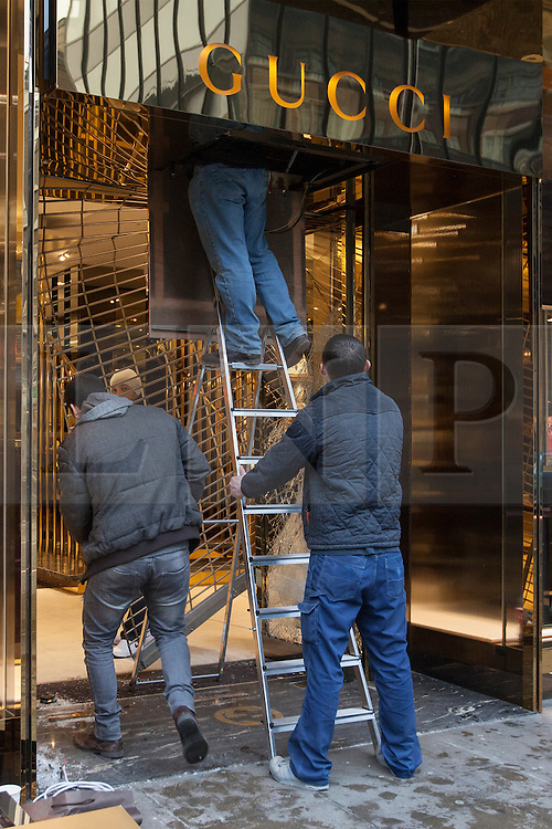 © licensed to London News Pictures. London, UK 07/03/2013. A Gucci store in Sloane Street, London targeted in ram-raid burglary attempt on Wednesday 07 March 2013. Photo credit: Tolga Akmen/LNP