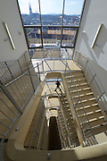 Vienna, Austria. University of Vienna, Faculty of Mathematics and Faculty of Business, Economics and Statistics. View from the staircase towards Votivkirche.