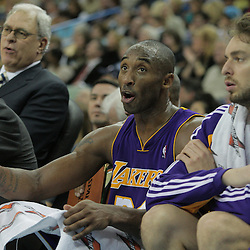 23 December 2008:  Los Angeles Lakers guard Kobe Bryant (24) reacts from the bench during a 100-87 loss by the New Orleans Hornets to the Los Angeles Lakers at the New Orleans Arena in New Orleans, LA. .