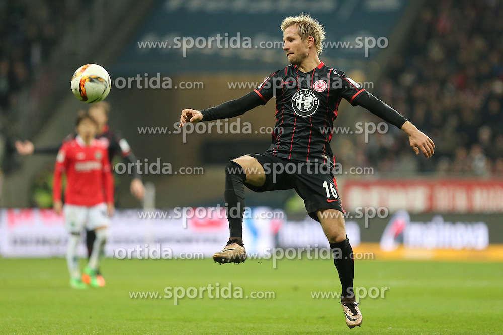 19.03.2016, Commerzbank Arena, Frankfurt, GER, 1. FBL, Eintracht Frankfurt vs Hannover 96, 27. Runde, im Bild Stefan Aigner (Frankfurt) bei der Ballannahme // during the German Bundesliga 27th round match between Eintracht Frankfurt vs Hannover 96 at the Commerzbank Arena in Frankfurt, Germany on 2016/03/19. EXPA Pictures &copy; 2016, PhotoCredit: EXPA/ Eibner-Pressefoto/ Roskaritz<br /> <br /> *****ATTENTION - OUT of GER*****