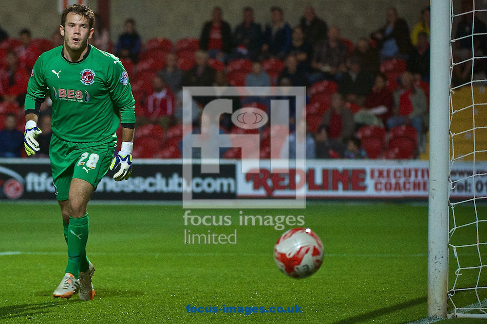 Fleetwood Town goalkeeper Chris Maxwell looks on as a shot goes past the post during the Sky Bet League 1 match at the Highbury Stadium, Fleetwood<br /> Picture by Ian Wadkins/Focus Images Ltd +44 7877 568959<br /> 17/09/2014