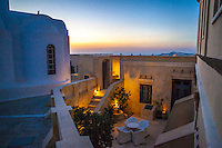 Courtyard at Zannos Melathron Hotel, Pyrgos, Santorini, Greece.