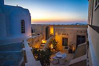 Courtyard at Zannos Melathron Hotel, Pyrgos, Santorini, Greece.