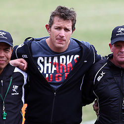DURBAN, SOUTH AFRICA, 1 August, 2016 - Ricardo Loubscher (Assistant Coach) of the Cell C Sharks with Ryan Strudwick (Assistant Coach) of the Cell C Sharks and Sean Everitt (Assistant Coach) of the Cell C Sharks during The Cell C Sharks Currie Cup training session at Growthpoint Kings Park in Durban, South Africa. (Photo by Steve Haag)<br /> <br /> images for social media must have consent from Steve Haag