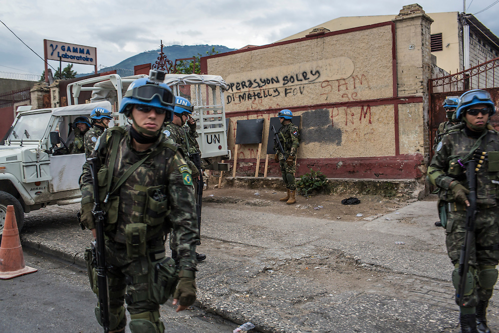 UN peacekeeping troops, operating under the auspices of MINUSTAH along the road in Delmas on Sunday, December 14, 2014 in Port-au-Prince, Haiti. The UN has a controversial record in Haiti, and is extremely unpopular.