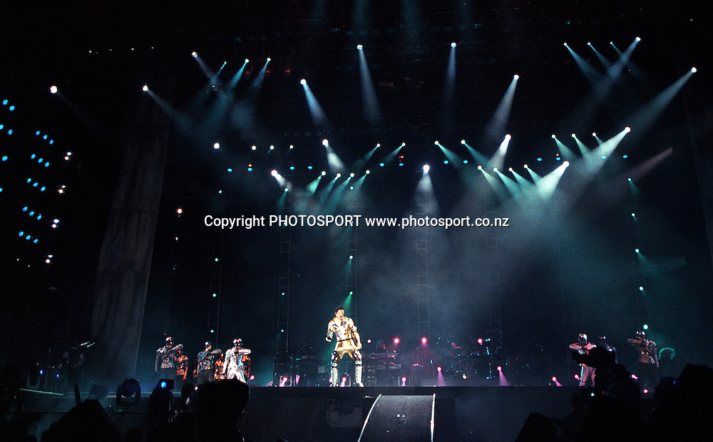 Michael Jackson performing during his november 1996 concert at Mt Smart Stadium, Auckland. Photo: PHOTOSPORT