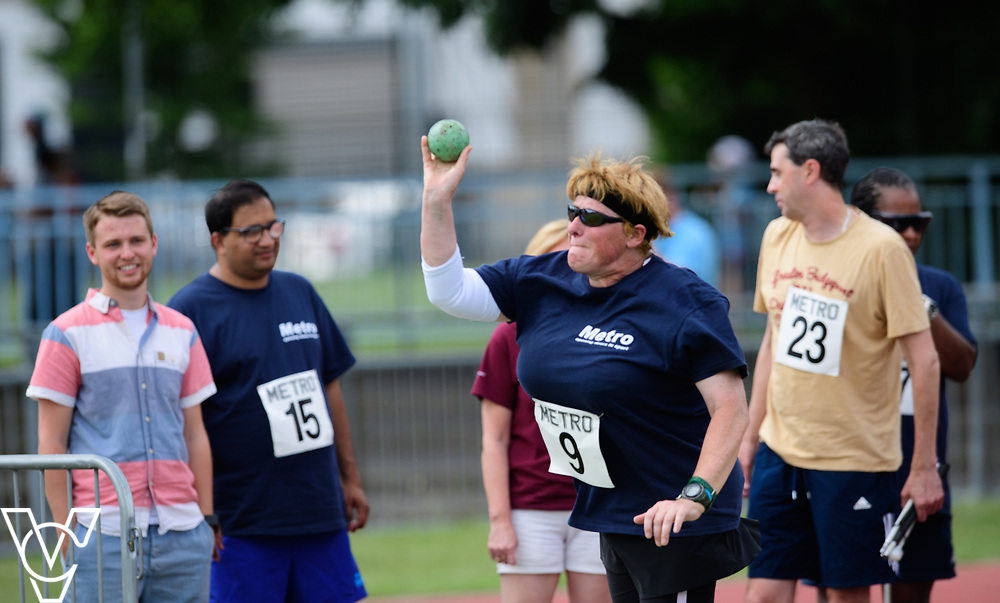 Metro Blind Sport's 2017 Athletics Open held at Mile End Stadium.  Shot put.  Angela McCool<br /> <br /> Picture: Chris Vaughan Photography for Metro Blind Sport<br /> Date: June 17, 2017