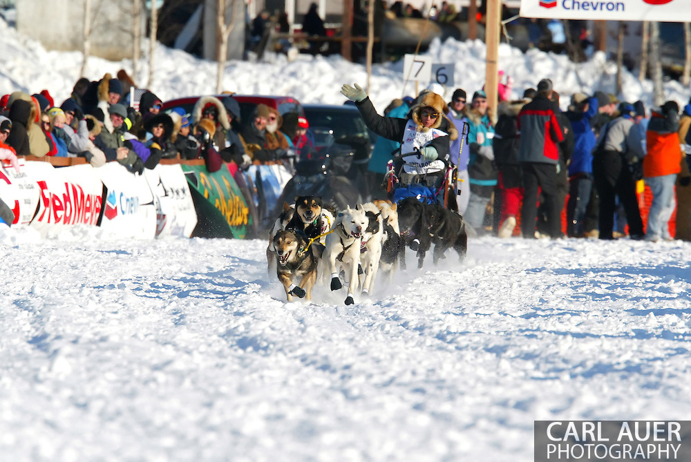 3/4/2007:  Willow, Alaska -  Veteran Ryan Redington of Wasilla, AK starts out for Nome and a chance at history, joining his Father and Grandfather as Iditarod Champions during the 35th Iditarod Sled Dog Race
