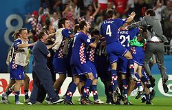 Croatian team when scored during the UEFA EURO 2008 Quarter-Final soccer match between Croatia and Turkey at Ernst-Happel Stadium, on June 20,2008, in Wien, Austria. Turkey won after penalty shots. (Photo by Vid Ponikvar / Sportal Images)