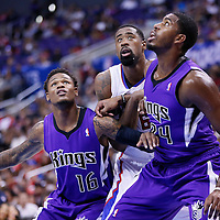 25 October 2013: Los Angeles Clippers center DeAndre Jordan (6) vies for the rebound with Sacramento Kings shooting guard Ben McLemore (16) and Sacramento Kings power forward Jason Thompson (34) during the Sacramento Kings 110-100 victory over the Los Angeles Clippers at the Staples Center, Los Angeles, California, USA.