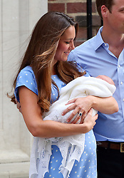 The Duke and Duchess of Cambridge and their baby boy George Alexandra Louis leaving the St Mary's Hospital in London. UK. 23/07/2013<br />BYLINE MUST READ : JAMESY/GOTCHA IMAGES<br /><br />Copyright by © Gotcha Images Ltd. All rights reserved.<br />Usage of this image is conditional upon the acceptance <br />of Gotcha Images Ltd, terms and conditions available at<br />www.gotchaimages.com