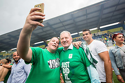 Milan Mandaric and supporters of Olimpija celebrate after they became Slovenian National Champion 2018 after the football match between NK Domzale and NK Olimpija Ljubljana in 36th Round of Prva liga Telekom Slovenije 2017/18, on May 27, 2018 in Sports park Domzale, Domzale, Slovenia. Photo by Vid Ponikvar / Sportida