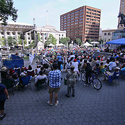 Spectator watch the show during the 27th DuPont Clifford Brown Jazz Festival Saturday, June 20, 2015, at Rodney Square in Wilmington, Delaware.
