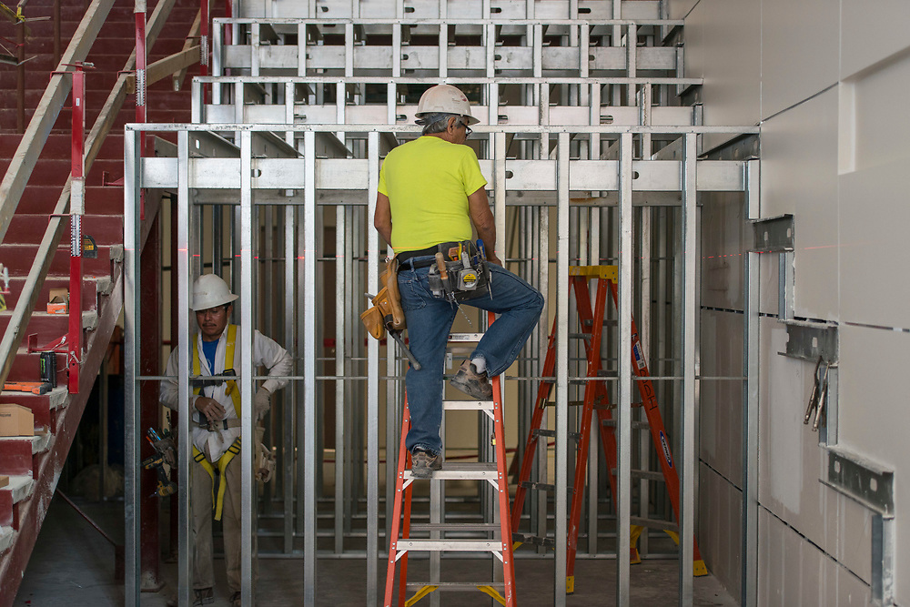 Construction at Leland College Preparatory Academy, April 25, 2017.