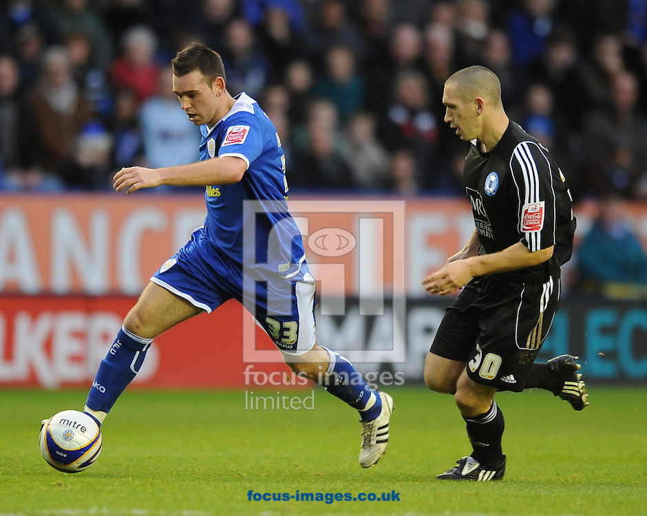Leicester - Saturday December 22th, 2008: Mark Davies of Leicester City and Andrew Crofts of Peterborough United during the Coca Cola League One match at The Walkers Stadium, Leciester. (Pic by Alex Broadway/Focus Images)