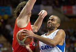 Pau Gasol of Spain vs Tony Parker during the EuroBasket 2009 Quaterfinals match between Spain and France, on September 17, 2009 in Arena Spodek, Katowice, Poland.  (Photo by Vid Ponikvar / Sportida)