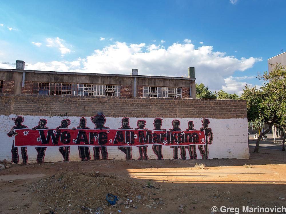 "Newtown, Johannesburg South Africa March 3, 2013. Grafitti in support of the slain Marikana miners. ""We are all marikana""Photo Greg Marinovich"