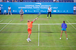LIVERPOOL, ENGLAND - Thursday, June 15, 2017: Mixed doubles during Day One of the Liverpool Hope University International Tennis Tournament 2017 at the Liverpool Cricket Club. (Pic by David Rawcliffe/Propaganda)