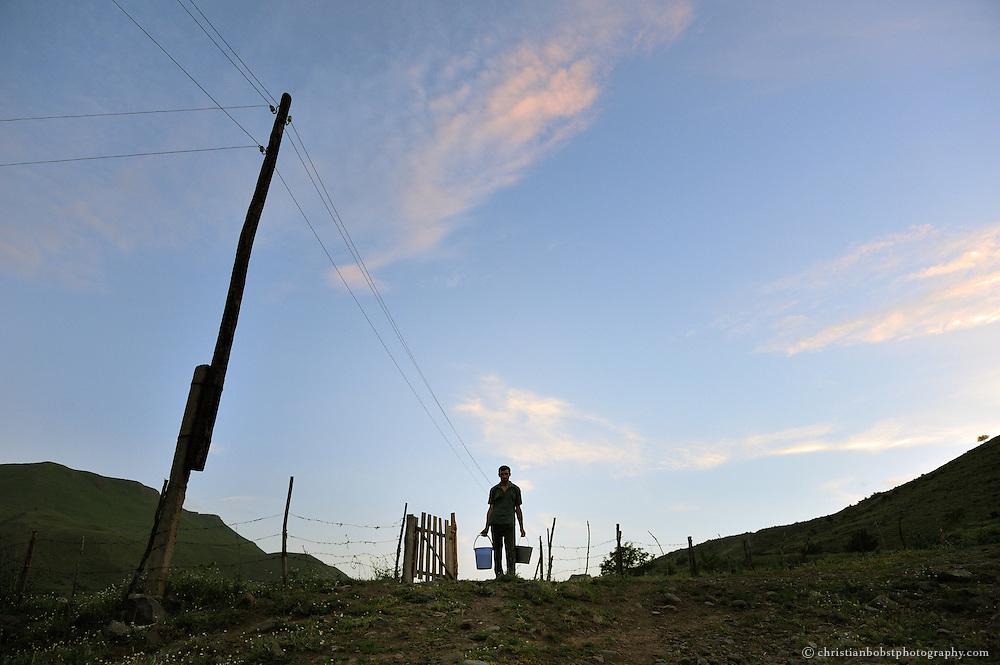 In Mirashkani, a poor farmers village in Georgia.