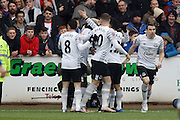 Everton celebrate the first goal by Everton forward Arouna Kone  during the The FA Cup fourth round match between Carlisle United and Everton at Brunton Park, Carlisle, England on 31 January 2016. Photo by Craig McAllister.
