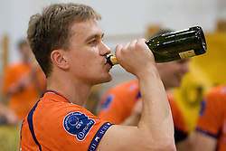 Veljko Petkovic drinking champaign at final match of Slovenian National Volleyball Championships between ACH Volley Bled and Salonit Anhovo, on April 24, 2010, in Radovljica, Slovenia. ACH Volley defeated Salonit 3rd time in 3 Rounds and became Slovenian National Champion.  (Photo by Vid Ponikvar / Sportida)