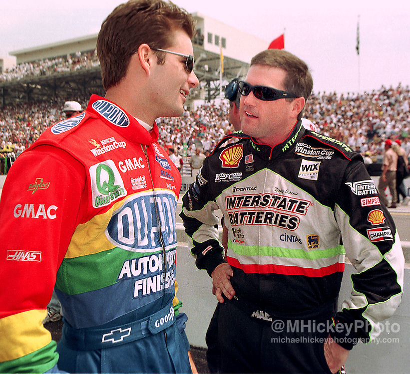 Jeff Gordon and Bobby Labonte seen at the Indianapolis Motor Speedway before the Brickyard 400.