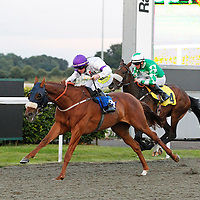 Pearl Spice and William Carson winning the 8.00 race