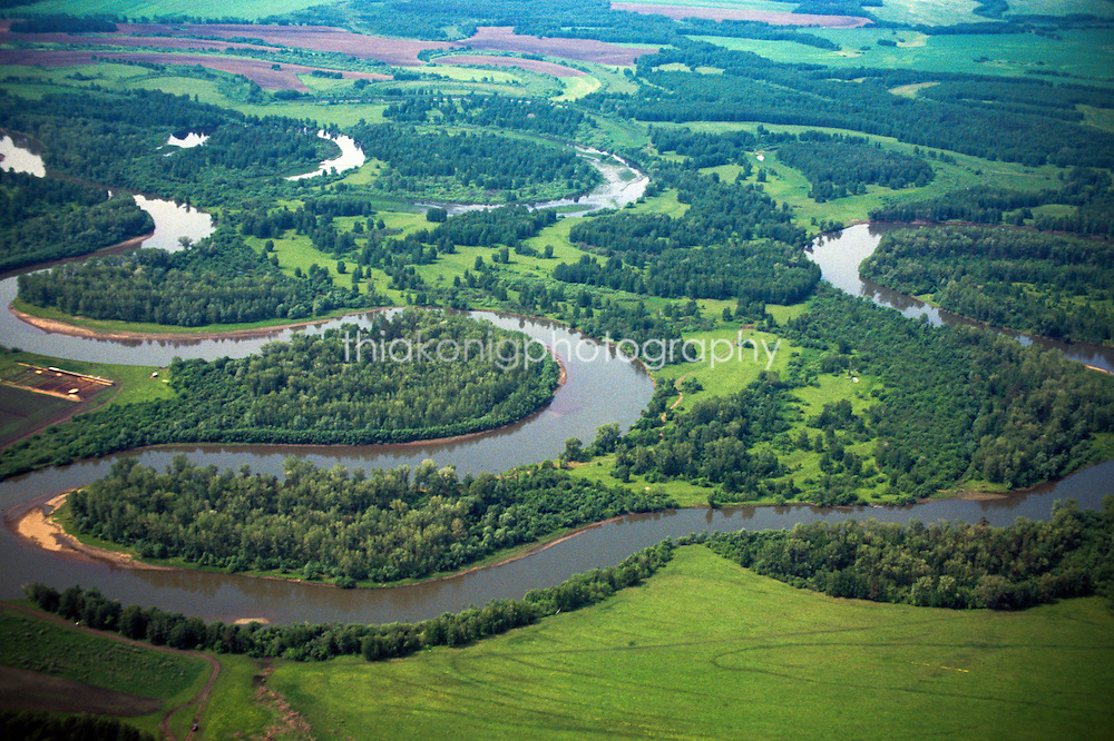 Winding river near Abakan, Russia