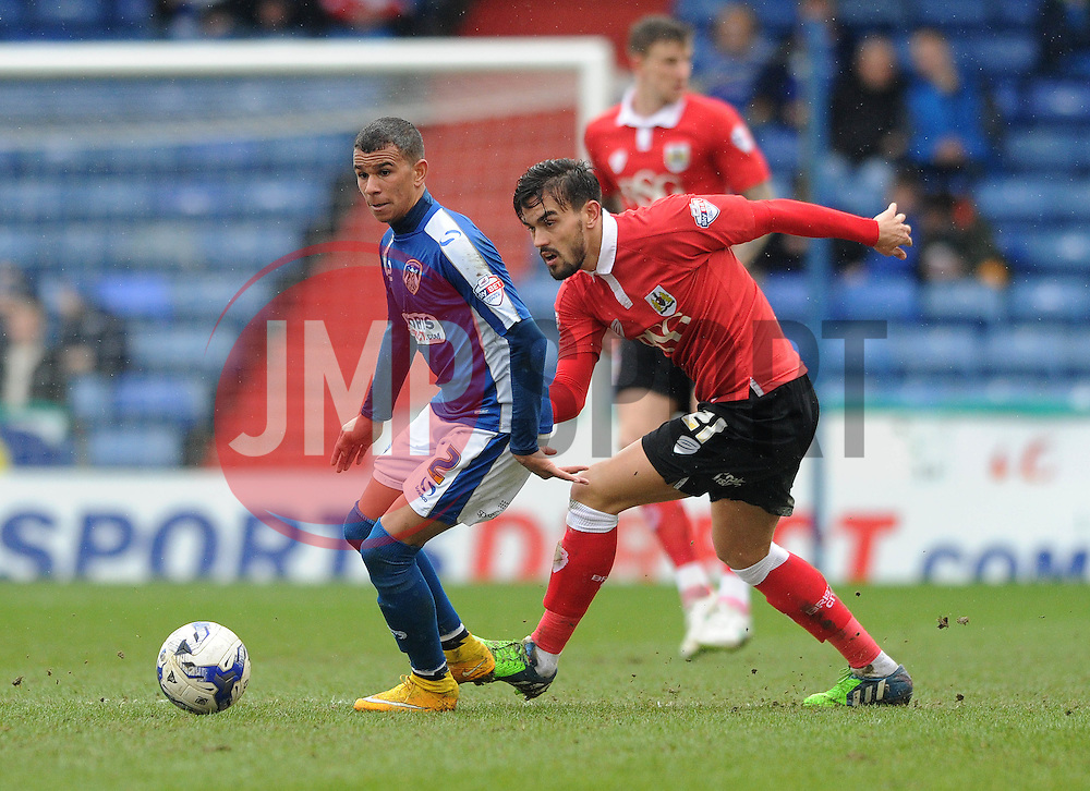 Bristol City's Marlon Pack closes down Oldham Athletic's Connor Brown - Photo mandatory by-line: Dougie Allward/JMP - Mobile: 07966 386802 - 03/04/2015 - SPORT - Football - Oldham - Boundary Park - Bristol City v Oldham Athletic - Sky Bet League One
