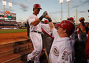Friday, Aug. 17, 2012  REDS SPORTS : Cincinnati Reds left fielder Ryan Ludwick (48) high fives guest bat boy Ted Kremer of White Oak after his fourth inning home run against the Chicago Cubs during their baseball game at Great American Ball Park.  The Enquirer/Jeff Swinger