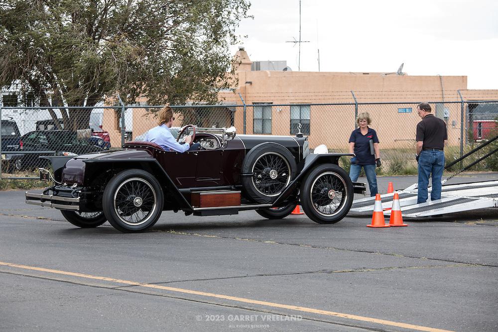 Petersen Museum's 1923 Mercedes 28/95 Targa Florio is unloaded.
