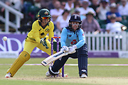 Tammy Beaumont of England (12) reverse sweeps the ball during the Royal London Women's One Day International match between England Women Cricket and Australia at the Fischer County Ground, Grace Road, Leicester, United Kingdom on 4 July 2019.