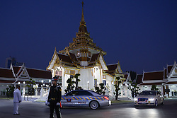November 3, 2018 - Bangkok, Thailand - A Thai military police officer stands guard in funeral ceremony of Vichai Srivaddhanaprabha, late chairman of Leicester City Football Club, in Bangkok, Thailand November 3, 2018. (Credit Image: © Anusak Laowilas/NurPhoto via ZUMA Press)