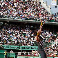 5 June 2009: Juan Martin Del Potro of Argentina serves during the Men's Singles Semi Final match on day thirteen of the French Open at Roland Garros in Paris, France.