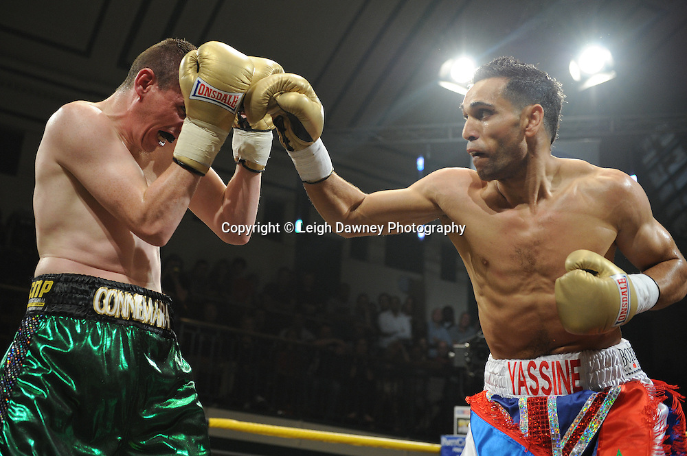 Yassine El Maachi (red/white shorts) defeats Peter McDonagh in Quarter Final Four at Prizefighter Welterweights II,York Hall, Bethnal Green ,London. Matchroom Sport/Prizefighter.Photo credit: Leigh Dawney 2011 07.06.11