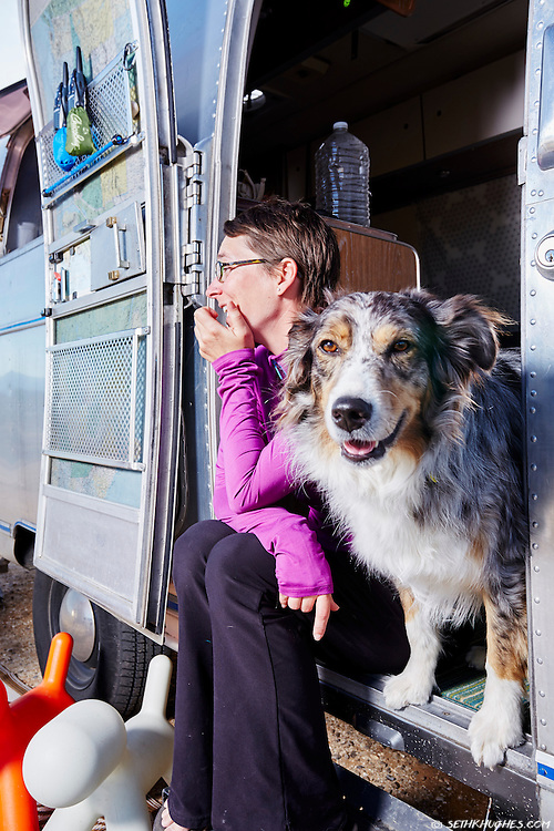 Kelly Puccio and her dog Sam are full-time residents of their Airstream travel trailer.