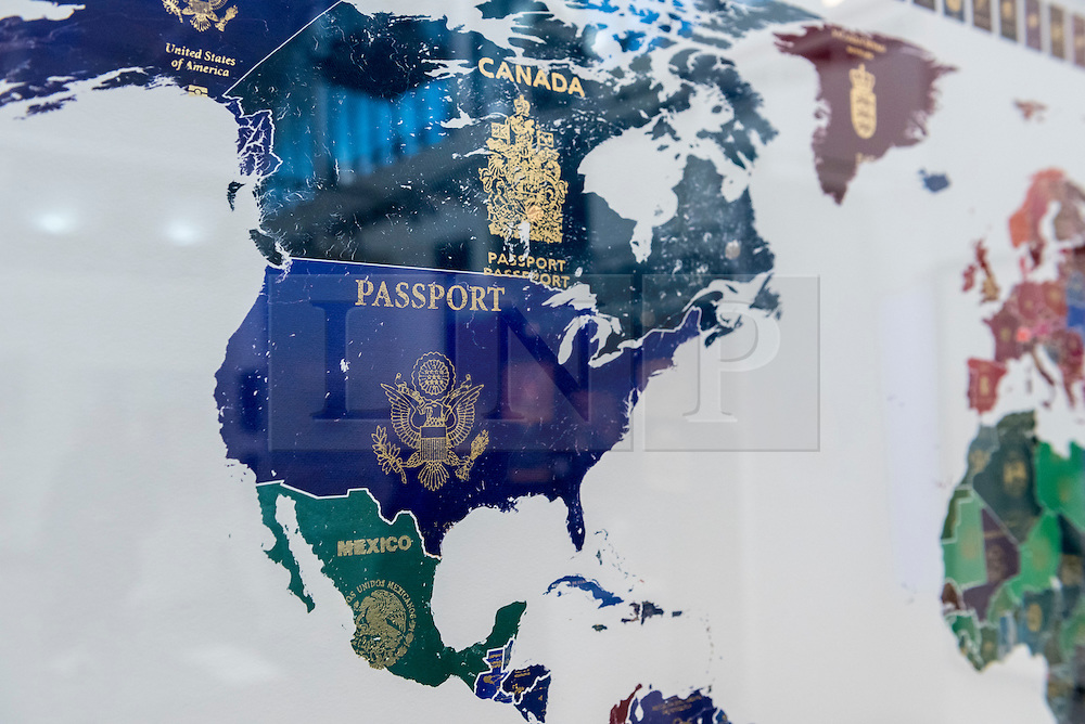"""© Licensed to London News Pictures. 17/01/2017. London, UK. Detail of the United States, from """"World Passport Map 2016"""" by Yanko Tihov (GBP2,900) at the preview of the 29th London Art Fair, the UK's premier fair for Modern British and contemporary art, taking place at the Business Design Centre in Islington from 18-22 January 2017, where 129 galleries from 18 different countries will be presenting their artworks. Photo credit : Stephen Chung/LNP"""