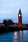 Big Ben and  the Palace of Westminster, also known as the Houses of Parliament or Westminster Palace.  It is the meeting place of the two houses of the Parliament of the United Kingdom and is on the bank of the river Thames in London.