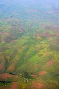 SHEWA/ETHIOPIA..Flight Addis Ababa - Axum aboard an Ethiopian Airlines Fokker 50. Typical lush landscape at the end of the rainy season..(Photo by Heimo Aga)