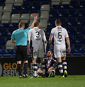 Ross County's James O'Brien is sent off after diving - Ross County v Dundee in the Ladbrokes Scottish Premiership at The Global Energy Stadium, Dingwall, Photo: David Young<br /> <br />  - &copy; David Young - www.davidyoungphoto.co.uk - email: davidyoungphoto@gmail.com