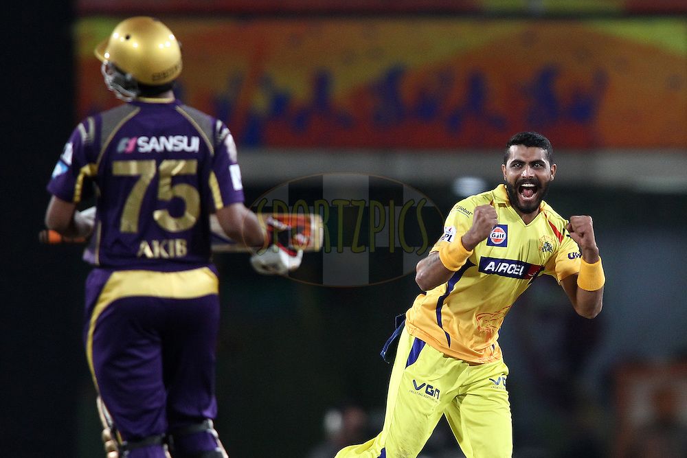Ravindra Jadeja of The Chennai Super Kings celebrates after getting Shakib Al Hasan of the Kolkata Knight Riders wicket during match 21 of the Pepsi Indian Premier League Season 2014 between the Chennai Superkings and the Kolkata Knight Riders  held at the JSCA International Cricket Stadium, Ranch, India on the 2nd May  2014<br /> <br /> Photo by Shaun Roy / IPL / SPORTZPICS<br /> <br /> <br /> <br /> Image use subject to terms and conditions which can be found here:  http://sportzpics.photoshelter.com/gallery/Pepsi-IPL-Image-terms-and-conditions/G00004VW1IVJ.gB0/C0000TScjhBM6ikg