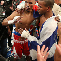 "Rances ""Kid Blast"" Barthelemy (right) celebrates his victory over Argenis Mendez during the ""Judgement Day"" boxing event at American Airlines Arena on Thursday, July 10, 2014 in Miami, Florida.  Barthelemy won the fight after 12 rounds. (AP Photo/Alex Menendez)"