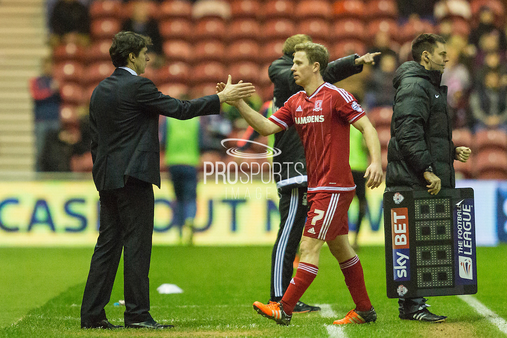 Middlesbrough FC Manager Aitor Karanka  congratulates his captain Middlesbrough FC midfielder Grant Leadbitter (7) when substituted during the Sky Bet Championship match between Middlesbrough and Nottingham Forest at the Riverside Stadium, Middlesbrough, England on 23 January 2016. Photo by George Ledger.
