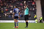 Charlton Athletic midfielder Ahmed Kashi (3) shown a yellow card, booked during the EFL Sky Bet League 1 match between Milton Keynes Dons and Charlton Athletic at stadium:mk, Milton Keynes, England on 17 February 2018. Picture by Dennis Goodwin.