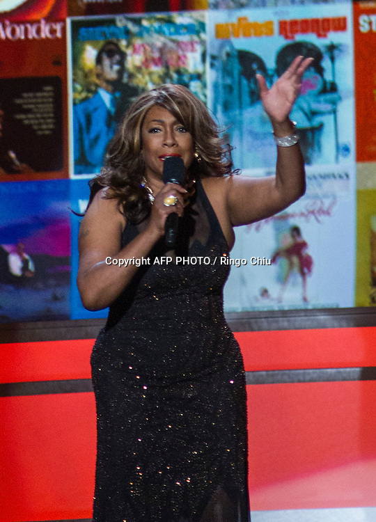 Recording artist Mary Wilson speaks onstage at a concert, Stevie Wonder: Songs In The Key Of Life - An All-Star GRAMMY Salute, at Nokia Theatre L.A. Live on February 10, 2015 in Los Angeles, California. AFP PHOTO / Ringo Chiu