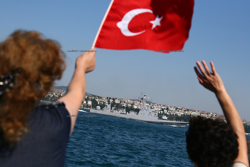 Military Parade on Bosporus in Istanbul on Zafer Bayrami celebration day (Victory Day).
