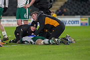 Medics attend to Adam Jackson of Barnsley after he collided with Jon Toral of Hull City  during the EFL Sky Bet Championship match between Hull City and Barnsley at the KCOM Stadium, Kingston upon Hull, England on 27 February 2018. Picture by Craig Zadoroznyj.