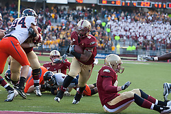 November 20, 2010; Chestnut Hill, MA, USA;  Boston College Eagles running back Montel Harris (2) scores a touchdown against the Virginia Cavaliers during the fourth quarter at Alumni Stadium.  Boston College defeated Virginia 17-13.