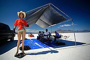 The best cars-people-atmosphere-photos of 2009 Bonneville Speed Week- A mannequin guards the pit area of Jack White Racing of Springfield Missouri, at the Bonneville Speed Way. August 9, 2009, in Utah.  Photo by Colin E. Braley